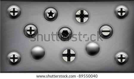Various Screws on Metal Plate - stock vector
