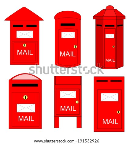 Various shape of postboxes vector. There is rarely somebody using it nowadays. - stock vector