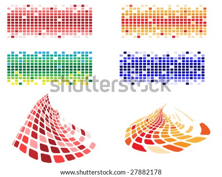 various shapes and color pixels - stock vector