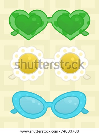 Various shapes of Sunglasses - stock vector