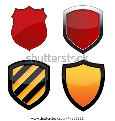 Various shield emblems isolated over a white background. Vector image. - stock vector