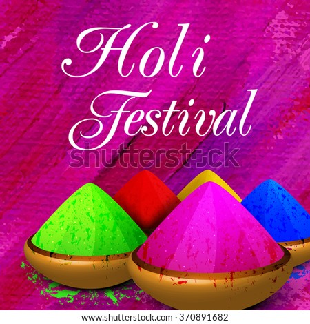 Various shiny dry colours in bowls for Indian Festival, Happy Holi celebration.