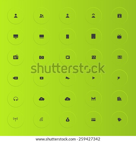 Various silhouette business and technology icon collection set 2 with glossy green shade background - stock vector