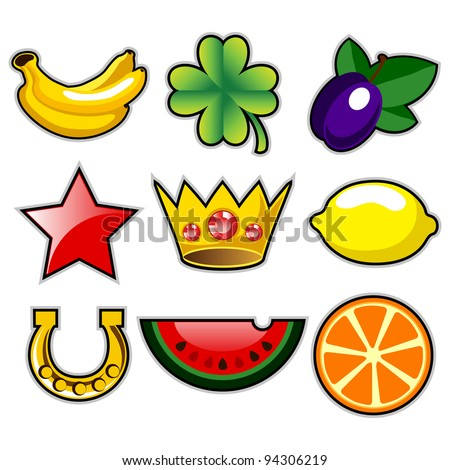 Various slot machine fruit icons vector - stock vector
