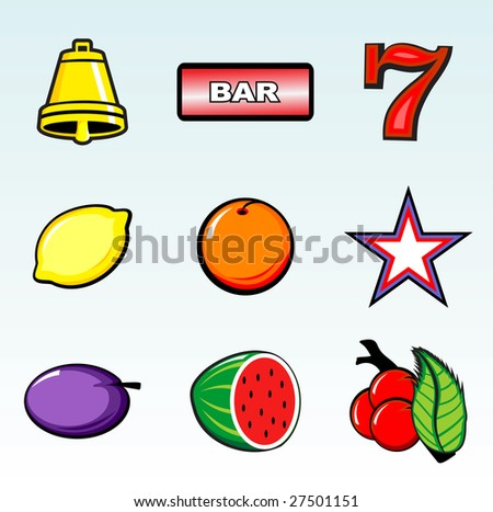 Various slot machine icons vector - stock vector