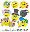 Various smileys 5 on white background - vector illustration. - stock vector