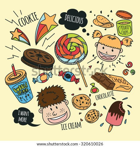various snack with happy kids in doodle style - stock vector