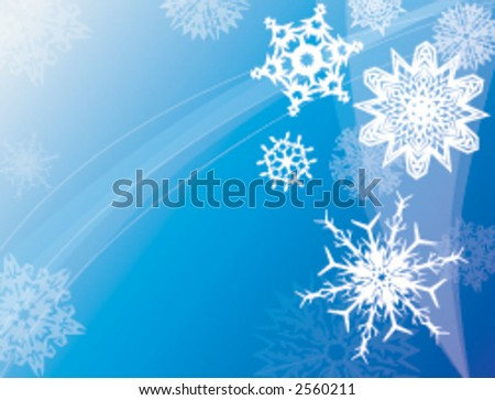 Various snowflakes floating in a winter sky - stock vector