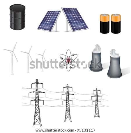 various sources of energy vector illustration - stock vector