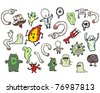 various spooky cartoons - stock vector