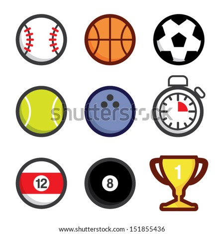 Various sport icons, balls and accessories, vector illustration - stock vector