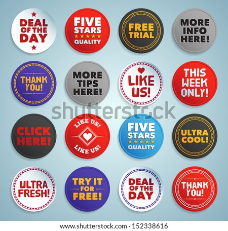 Various stickers, labels and buttons. EPS10. - stock vector