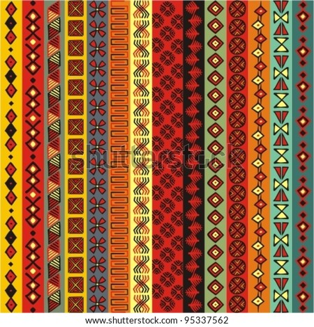 Various strips motifs colored - stock vector