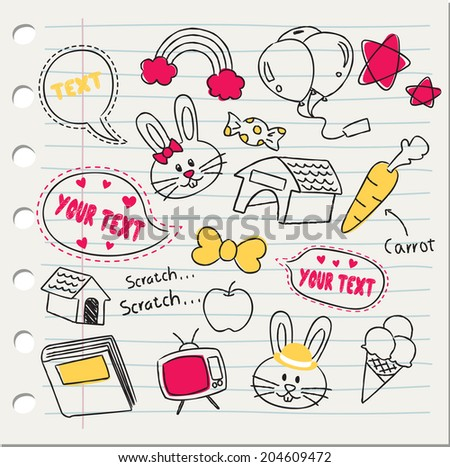 various stuff in doodle style - stock vector