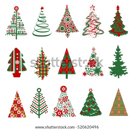 Various stylized set of Christmas trees.