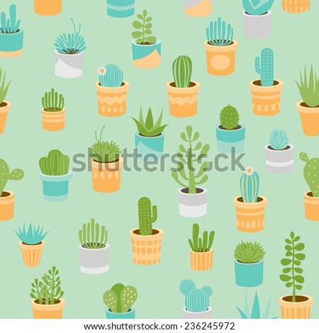 Various succulents mix seamless pattern - stock vector