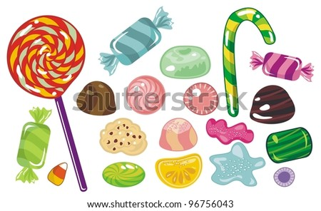 Various sweets and candies - stock vector
