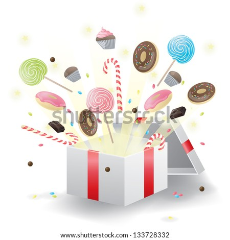 Various sweets burst from present box, create by vector - stock vector
