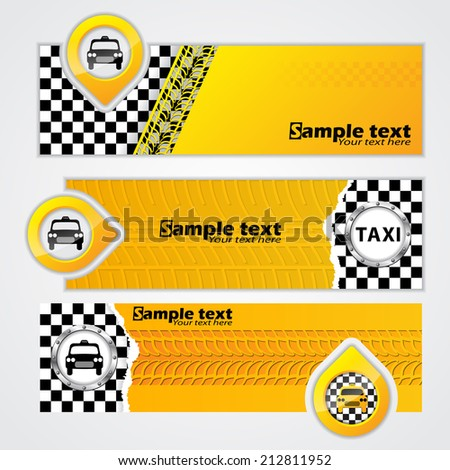 Various taxi company banner set of 3 - stock vector