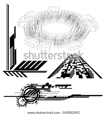 various Technological futuristic contemporary shapes - stock vector