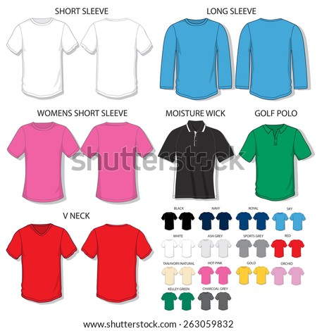 Various Tee shirt template in all colors in process CMYK - stock vector