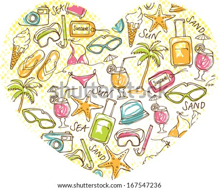 Various travel vacation icons arranged in heart shape - stock vector