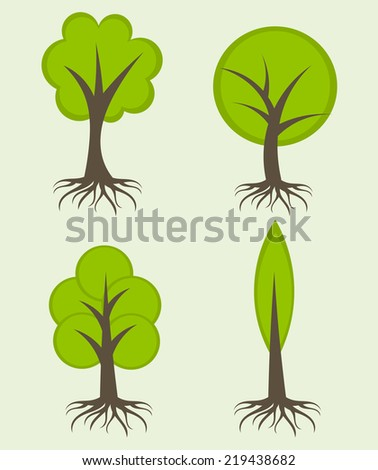 Various trees with roots. Vector illustration - stock vector