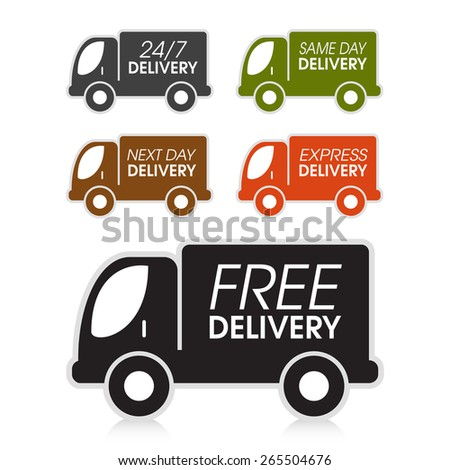 Various truck delivery options. - stock vector