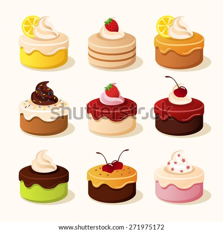 Various type of cake : vector illustration