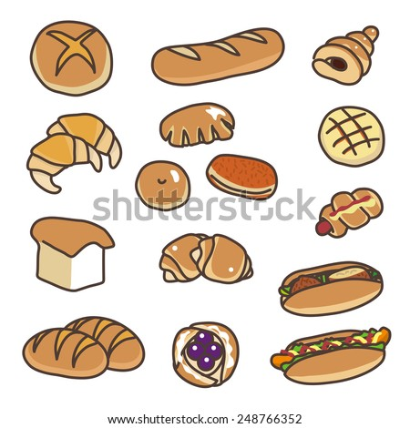 Various types of bread illustration - stock vector