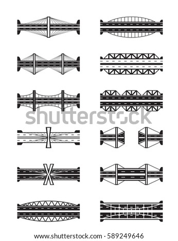 Various types of bridges viewed from above - vector illustration