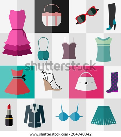 Various types of clothes and accessories for women - stock vector