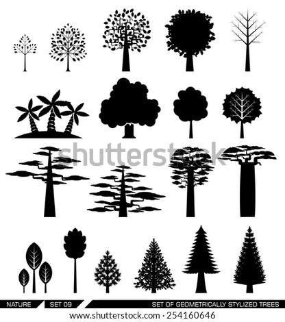 Various types of deciduous and evergreen trees. Set of flat vector icons. - stock vector