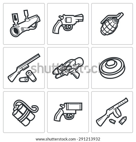 Various types of weapons icons set. Vector Illustration. Isolated Flat Icons collection on a white background for design - stock vector