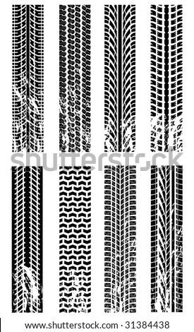Various tyre tracks - stock vector