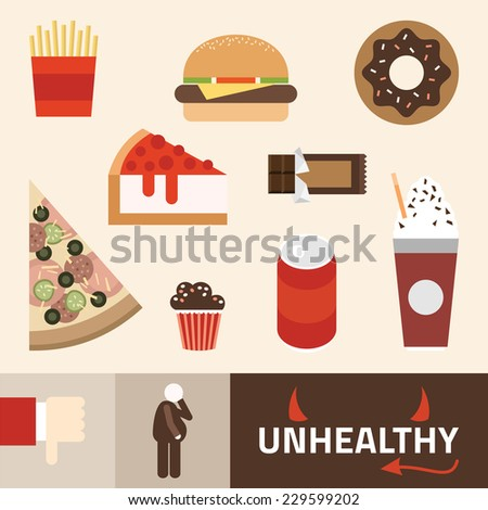 Various unhealthy food: pizza, donut, burger, soda and other. Flat vector illustration. - stock vector