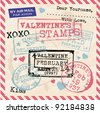 Various Valentines Stamps Background - stock vector