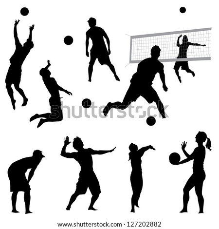 various vector beach volleyball silhouettes
