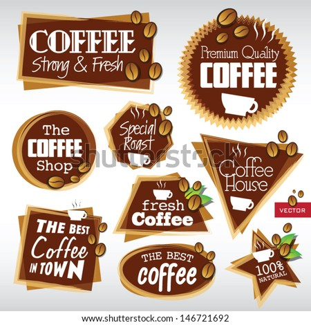 Various Vector Coffee Labels  - stock vector