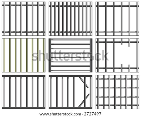 Various vector designs of prison bars and grills - stock vector