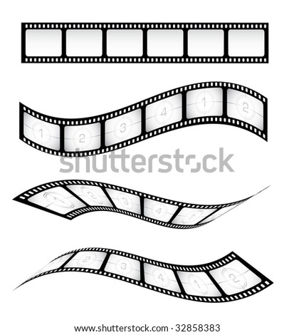 Various vector film strips for designs - stock vector
