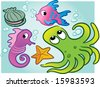 various vector sea creatures: clam, fish, seahorse, octopus, starfish - stock vector