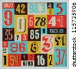 Various Vintage Number Collection. For High Quality Graphic Projects. - stock vector