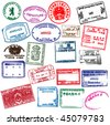 Various visa stamps from passports from worldwide travelling. Vector. - stock photo