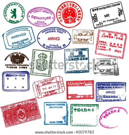 Various visa stamps from passports from worldwide travelling. Vector. - stock vector