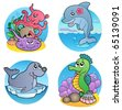 Various water animals and fishes 1 - vector illustration. - stock vector