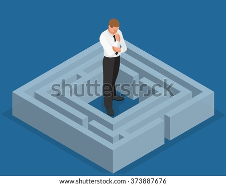 Various ways. Solving problems. Businessman finding the solution of a maze. Business concept. Vector 3d flat isometric illustration - stock vector