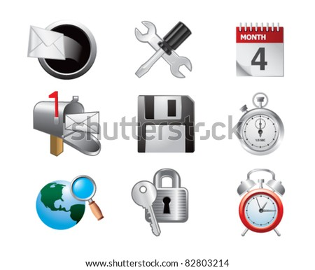 Various web icons on white background - stock vector