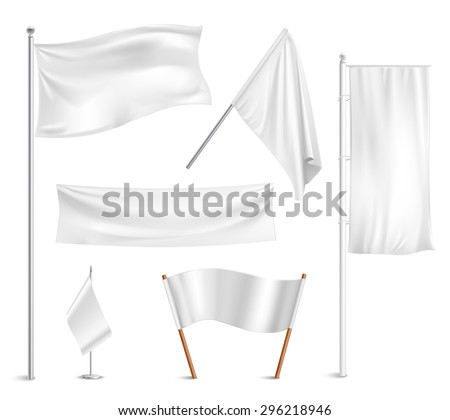 Various white flags and banners pictograms collection with hoisted and half-mast lowered positions abstract vector illustration - stock vector