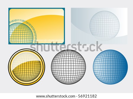 various wireframe spheres - stock vector